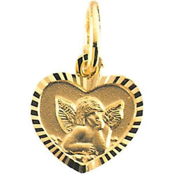 14k Yellow Gold Angel Heart Pendant with Diamond-Cut Frame (9x12 MM)