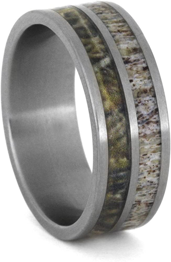 Deer Antler, Camo Print 8mm Comfort-Fit Matte Titanium Wedding Band, Size 15.75