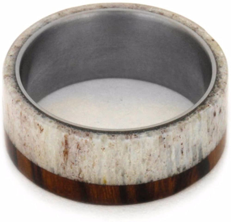 Light Deer Antler, Ironwood 8mm Comfort-Fit Matte Titanium Wedding Band, Size 12.25