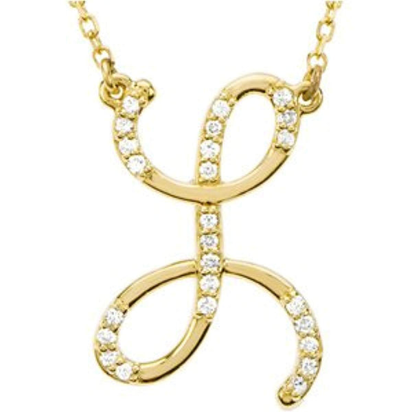 "14k Yellow Gold Alphabet Initial Letter L Diamond Pendant Necklace, 17"" (GH Color, I1 Clarity, 1/8 Cttw)"
