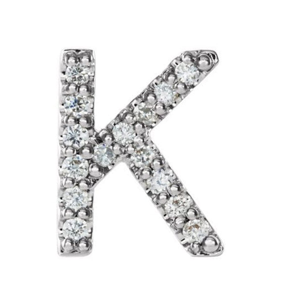 Rhodium-Plated 14k White Gold Diamond Letter 'K' Initial Stud Earring (Single Earring) (.06 Ctw, GH Color, I1 Clarity)