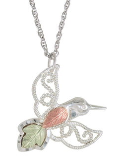 Granulated Bead Hummingbird Pendant Necklace, Sterling Silver, 12k Green Gold, 12k Rose Gold Black Hills Gold, 18''