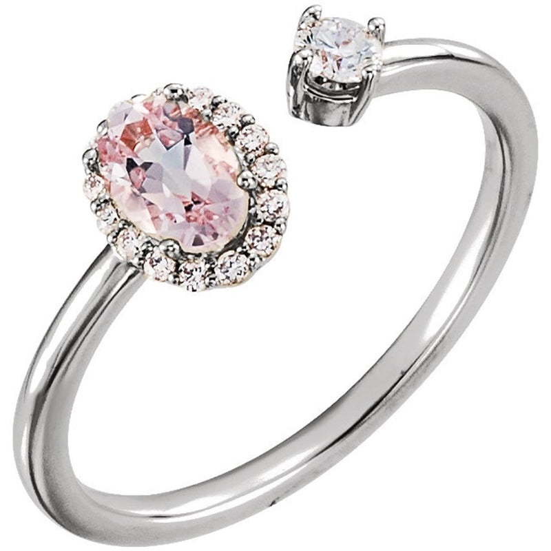 Diamond and Morganite Two-Stone Halo-Style Ring, Rhodium-Plated 14k White Gold (.16 Ctw,G-H Color, I1 Clarity)