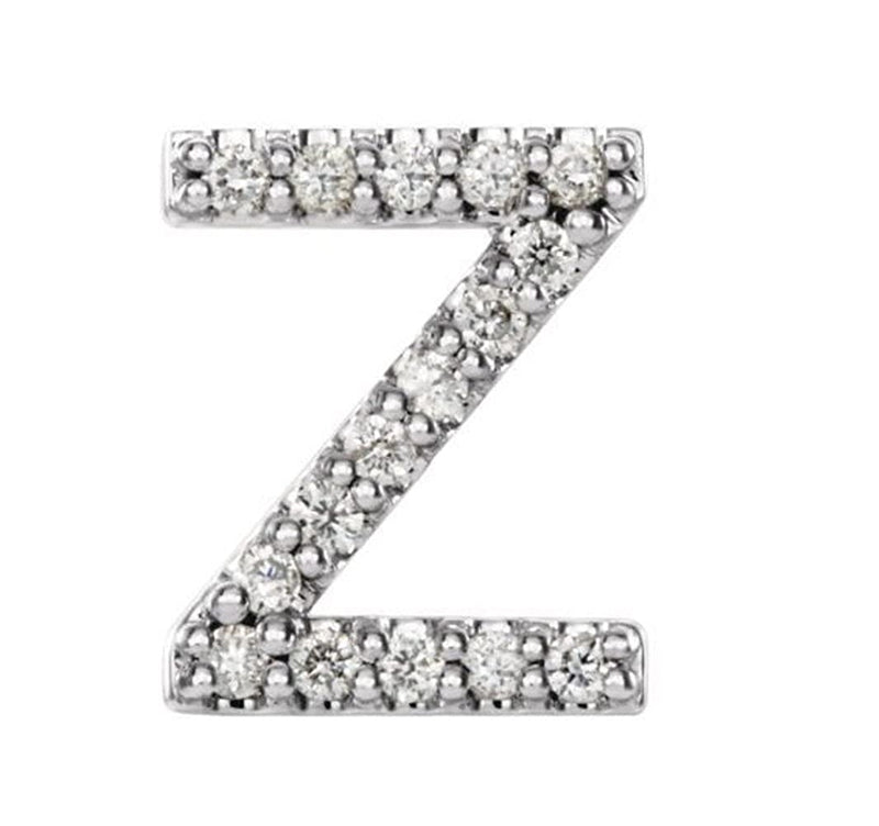 Rhodium-Plated 14k White Gold Diamond Letter 'Z' Initial Stud Earring (Single Earring) (.07 Ctw, GH Color, I1 Clarity)