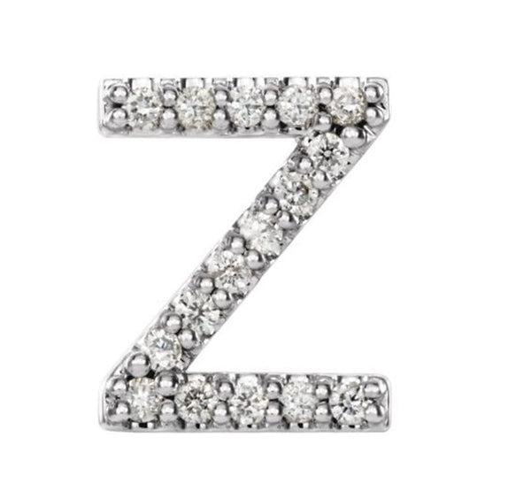 Sterling Silver Diamond Letter 'Z' Initial Stud Earring (Single Earring) (.07 Ctw, GH Color, I1 Clarity)