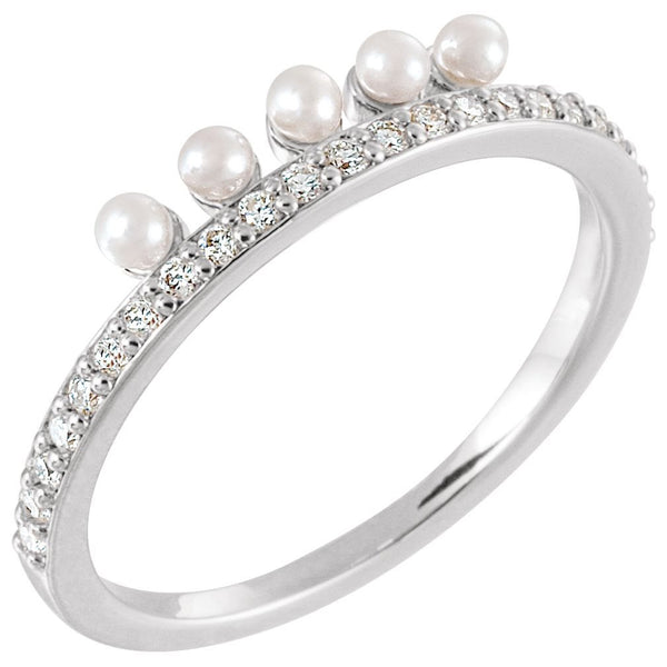 White Freshwater Cultured Pearl, Diamond Stackable Ring, Rhodium-Plated 14k White Gold (2mm)(.2Ctw, Color G-H, Clarity I1)