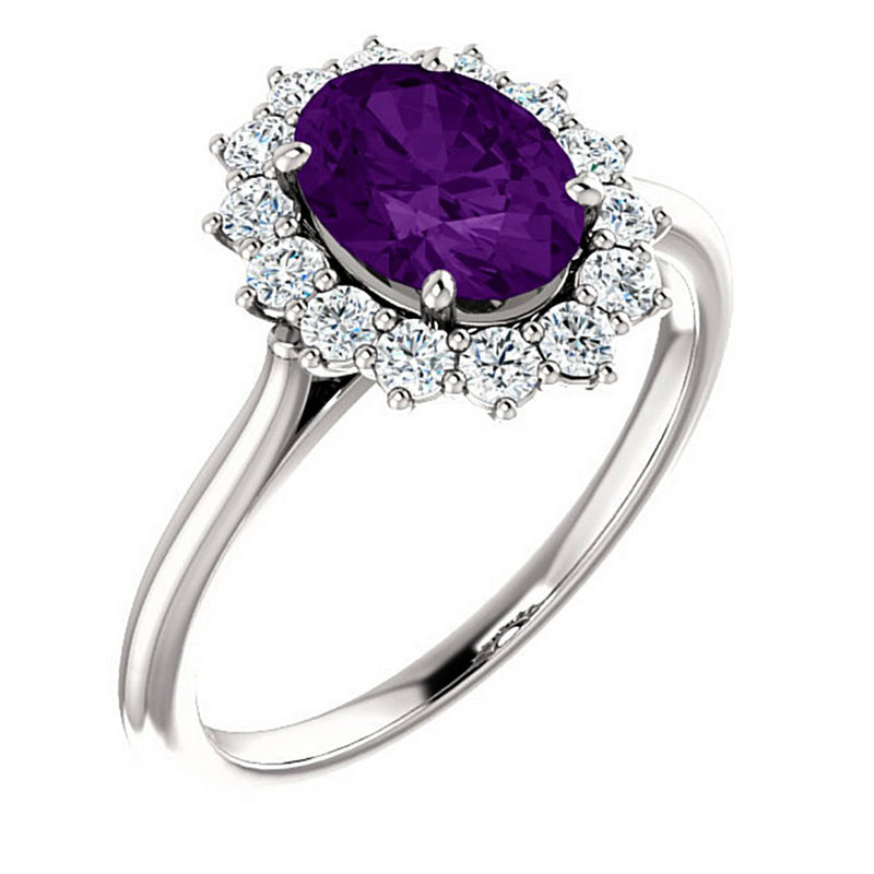 Genuine Oval Amethyst and Diamond Halo 14k White Gold Ring (.35 Cttw, GH Color, SI1 Clarity)