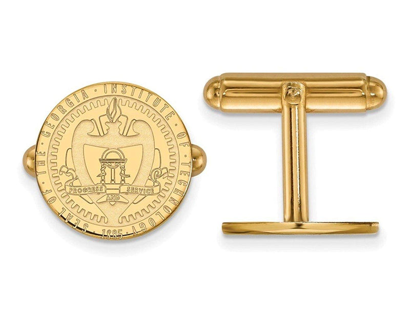Gold-Plated Sterling Silver Georgia Institute Of Technology Crest Round Cuff Links, 15MM