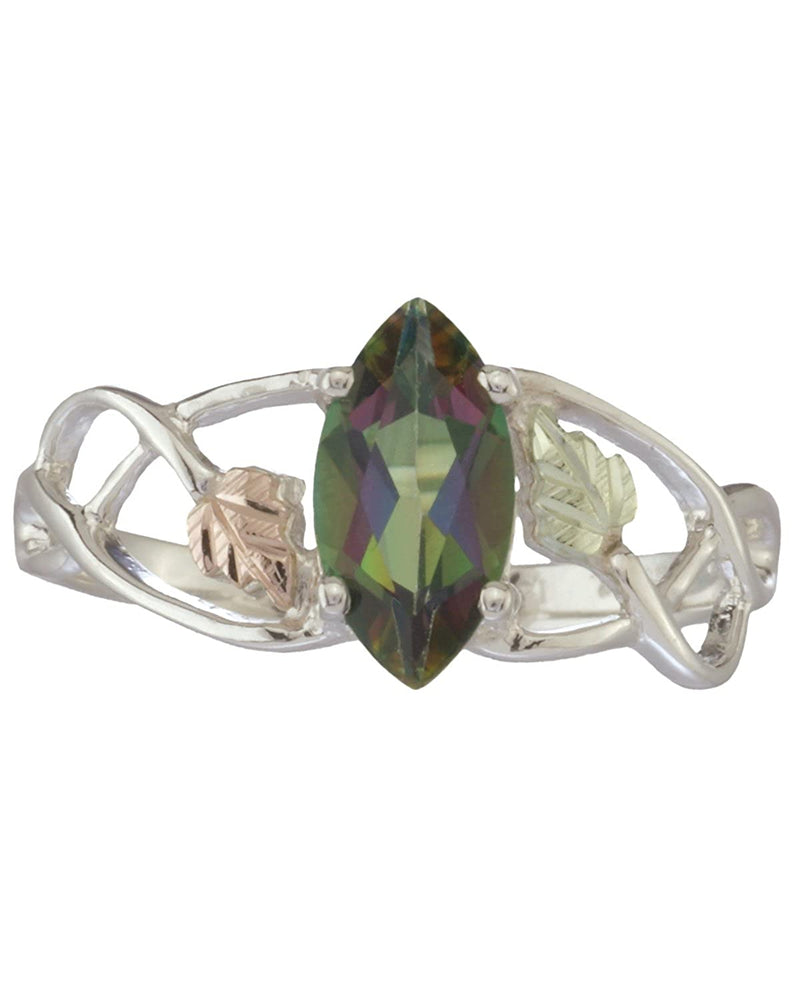 Sterling Silver .90 Ct Faceted Mystic Fire Marquise Ring with 12k Green and Rose Gold, Sizes 4, 4.5, 5, 5.5, 6, 6.5, 7, 7.5, 8, 8.5, 9