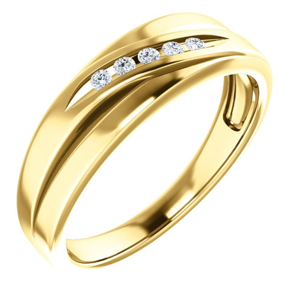 Men's 7-Stone Diamond Wedding Band, 14k Yellow Gold (.10 Ctw, Color G-H, SI2-SI3 Clarity) Size 10
