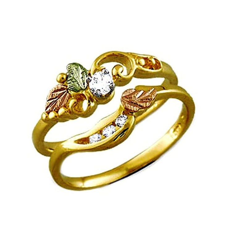 Diamond Bridal Set Engagement and Wedding Ring, 14k Yellow Gold, 12k Green and Rose Gold Black Hills Gold Motif (.10 Ct) (.02 Ctw)