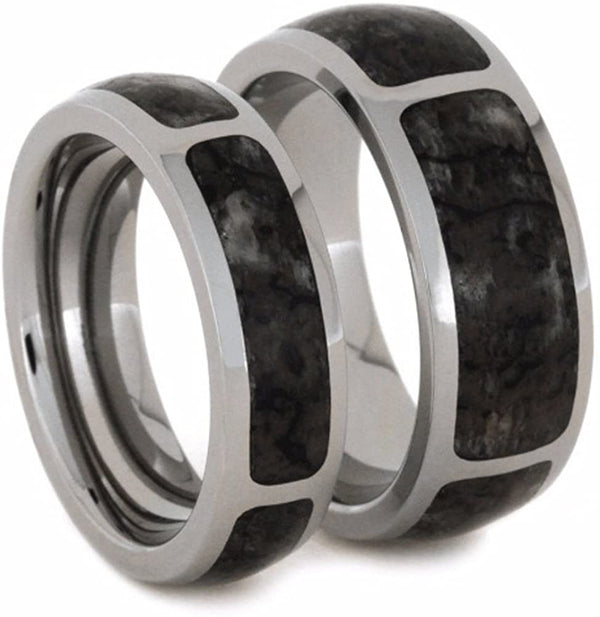 Dinosaur Bone Comfort-Fit His and Hers Titanium Wedding Band Set, M13-F7.5