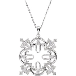 Rhodium Plate Sterling Silver 'Triumphant' Quatrefoil Cross CZ Necklace, 18""