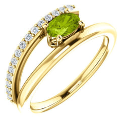 Peridot and Diamond Bypass Ring, 14k Yellow Gold (.125 Ctw, G-H Color, I1 Clarity)