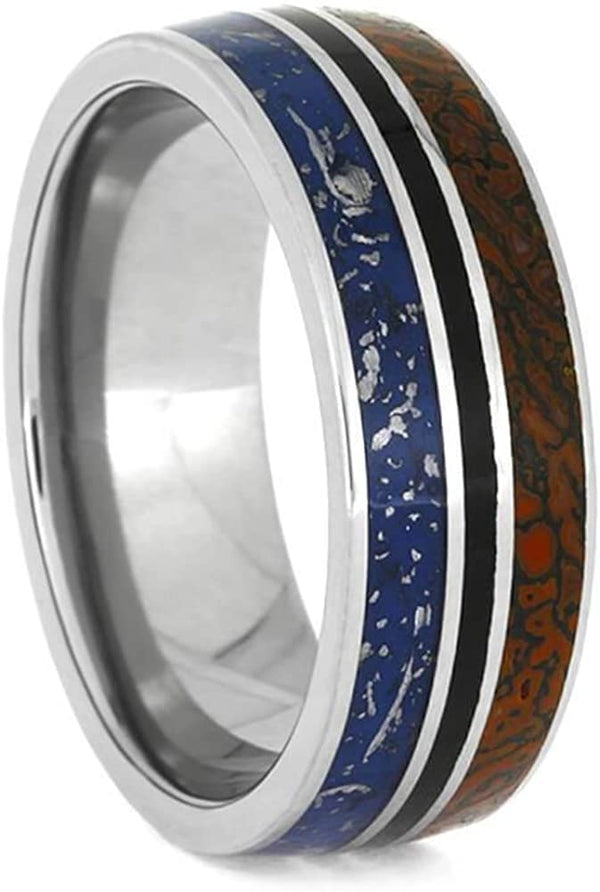 Blue Stardust, Fossil Meteorite, Dinosaur Bone, Black Stripe 8mm Titanium Comfort-Fit Wedding Band, Size 12.25