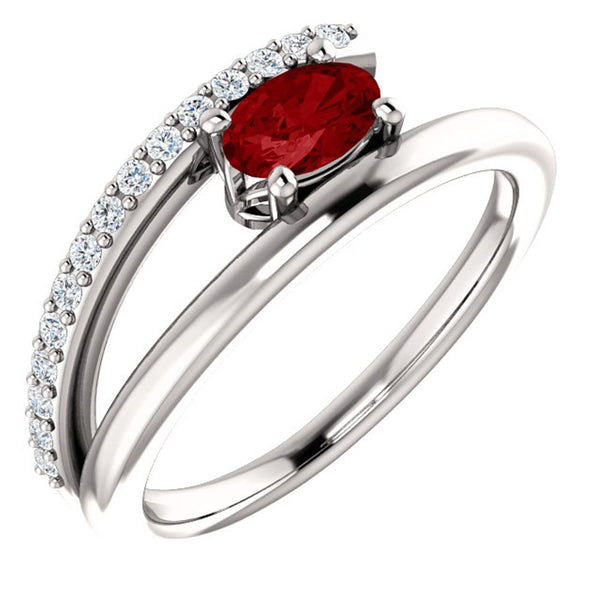 Chatham Created Ruby and Diamond Bypass Ring, Sterling Silver (.125 Ctw, G-H Color, I1 Clarity), Size 7