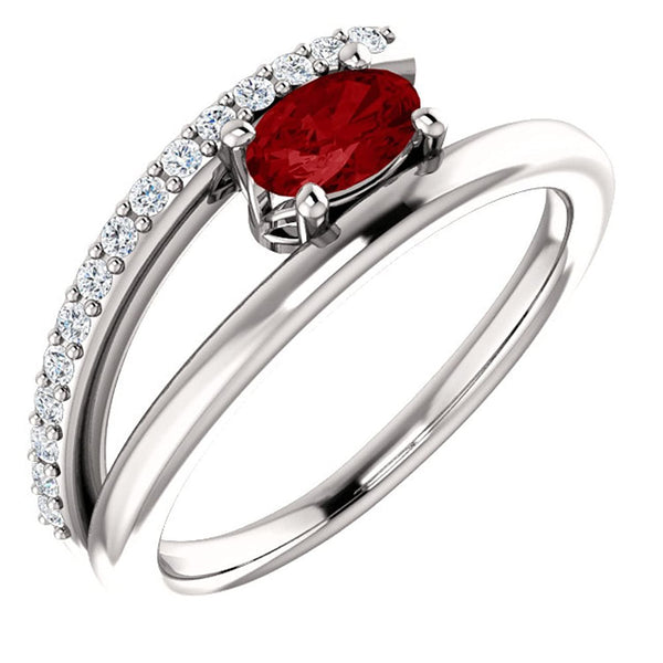 Chatham Created Ruby and Diamond Bypass Ring, Sterling Silver (.125 Ctw, G-H Color, I1 Clarity), Size 6.25