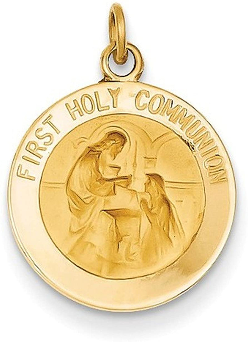 14k Yellow Gold First Holy Communion Medal Pendant (16X15MM)