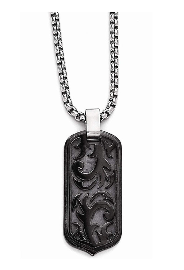 Edward Mirell Black Titanium Casted Dog Tag Pendant Necklace, 20""