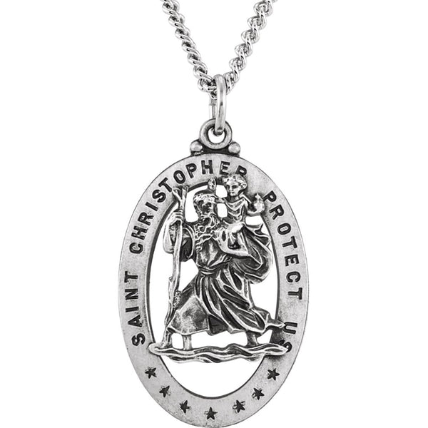 "Sterling Silver Oval St. Christopher Medal Necklace, 24"" (29x20 MM)"