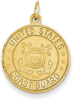 14k Yellow Gold US Coast Guard St. Christopher Medal Pendant (25X19MM)