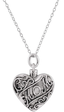 'Mom' Heart Ash Holder Necklace, Rhodium Plated Sterling Silver, 18""