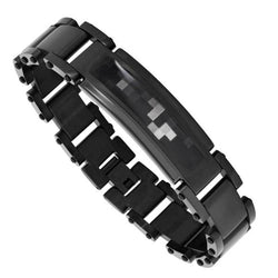 Men's Black Ion Plated Digital Camo Bracelet, Stainless Steel, 8.5""
