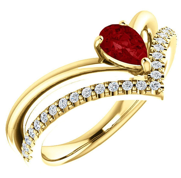 Ruby Pear and Diamond Chevron 14k Yellow Gold Ring (.145 Ctw,G-H Color, I1 Clarity)