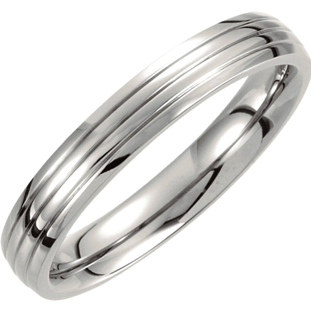 Titanium 4mm Comfort Fit Three Grooved Half Dome Ring