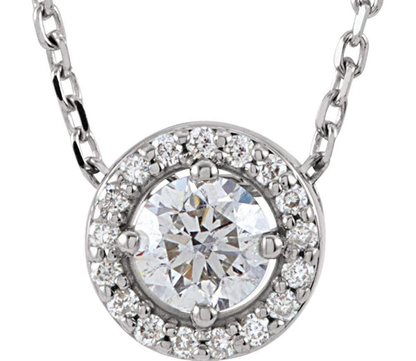 "Platinum Diamond Halo Necklace, 16"" (0.2 Ctw, G-H Color, I3 Clarity)"