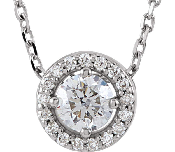 "Diamond Halo Necklace, Rhodium-Plated 14k White Gold, 16"" (0.2 Ctw, Color G-H Color, I1 Clarity))"