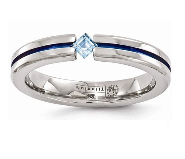 Radiance Collection Gray and Blue Titanium Sky Blue Topaz Princess 4mm Band