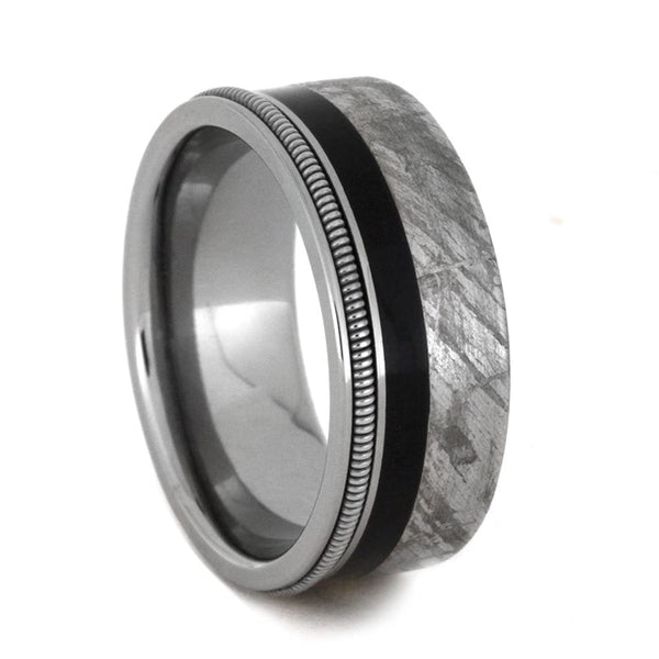 Meteorite, Ebony Wood, Guitar String 8mm Comfort-Fit Titanium Band