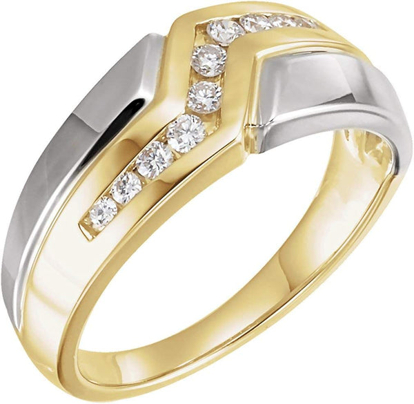 Men's 10-Stone Diamonds Channel Set 8.9mm 14k Yellow and White Gold Band, Size 10.5