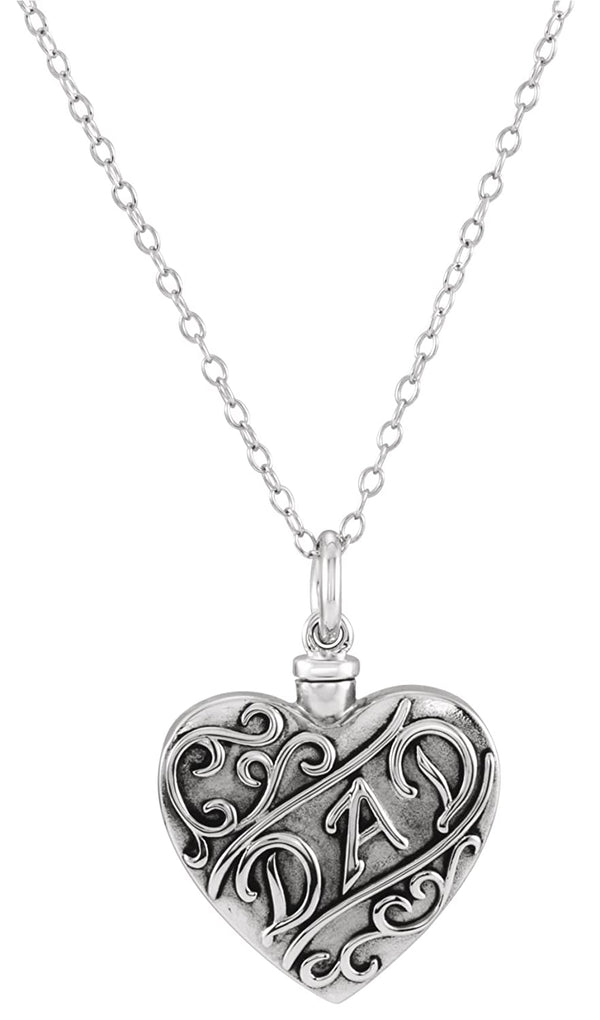 'Dad' Heart Ash Holder Necklace, Rhodium Plated Sterling Silver, 18""