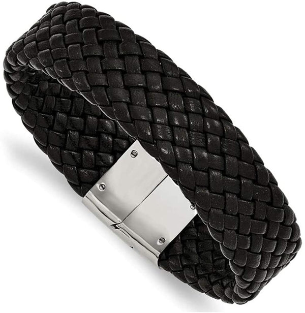 Men's Woven Black Leather Stainless Steel Magnetic- Clasp Bracelet, 8.5 Inches