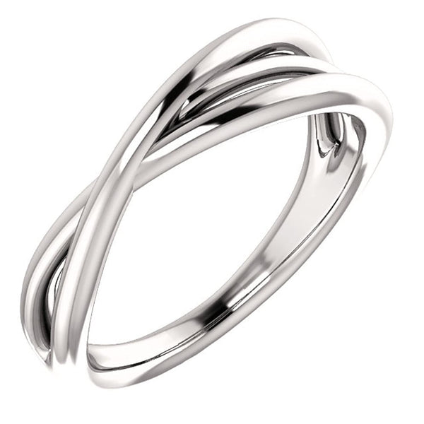Platinum Free-Form Abstract Criss Cross Ring, Size 7.5