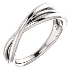 Platinum Free-Form Abstract Criss Cross Ring, Size 7