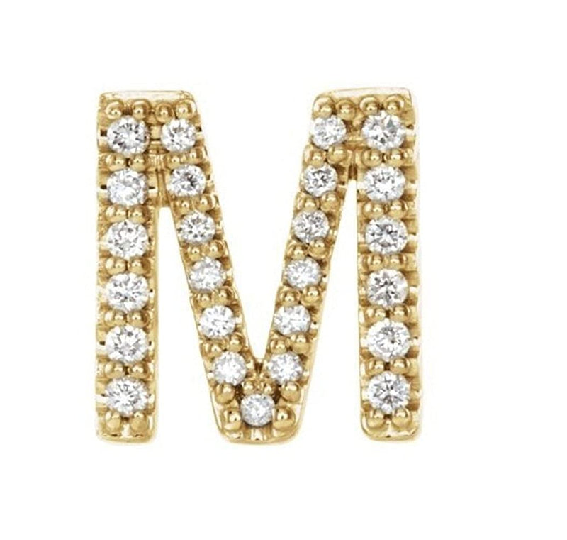 14k Yellow Gold Gold Diamond Letter 'M' Initial Stud Earring (Single Earring) (.10 Ctw, GH Color, I1 Clarity)