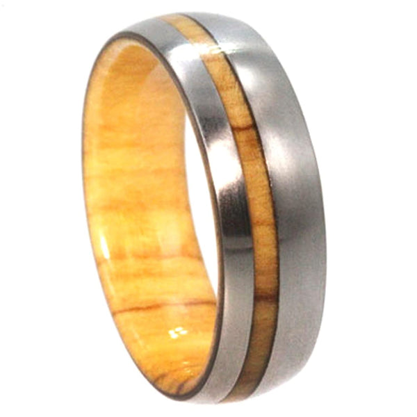 The Men's Jewelry Store (Unisex Jewelry) Titanium with Olive Wood Pinstripe 8mm Comfort Fit Olive Wood Wedding Band