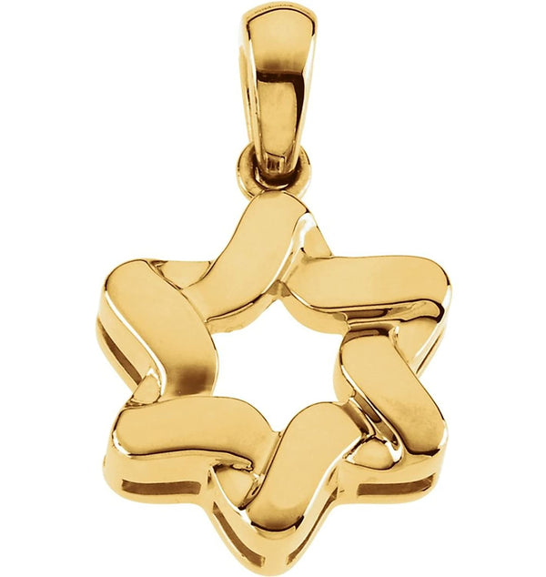 14k Yellow Gold Star of David Pendant (23x17.5 MM)