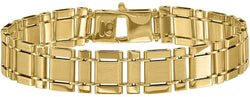 Men's Italian 13mm Brushed and Polished 14k Yellow Gold Rectangle Link Bracelet, 8.5 Inches