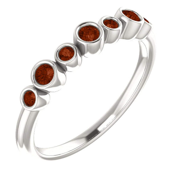 Platinum Mozambique Garnet 7-Stone 3.25mm Ring