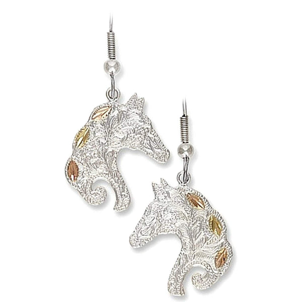 Horse head Fish Hook Earrings, Sterling Silver, 12k Green and Rose Gold Black Hills Gold Motif