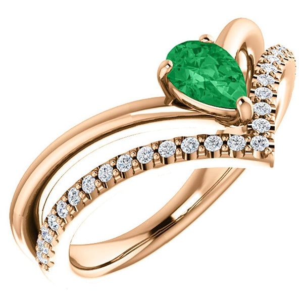 Emerald Pear and Diamond Chevron 14k Rose Gold Ring (.145 Ctw, G-H Color, I1 Clarity)