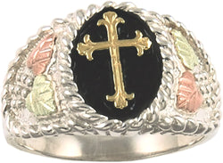 Men's Cross Ring, Sterling Silver, 10k Yellow Gold, 12k Green and Rose Gold Black Hills Gold Motif, Size 12.25