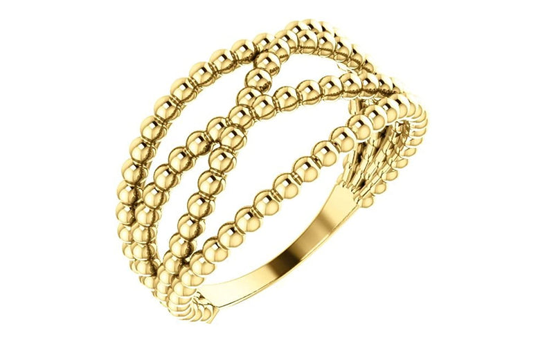 Beaded Criss-Cross Ring, 14k Yellow Gold