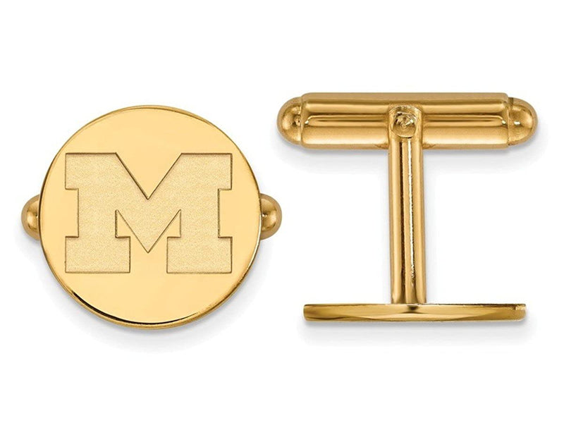 Gold-Plated Sterling Silver Michigan university of Round Cuff Links, 15MM