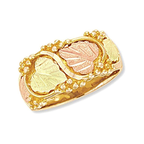 Women's Diamond-Cut Wedding Ring, 10k Yellow Gold, 12k Green and Rose Gold Black Hills Gold Motif