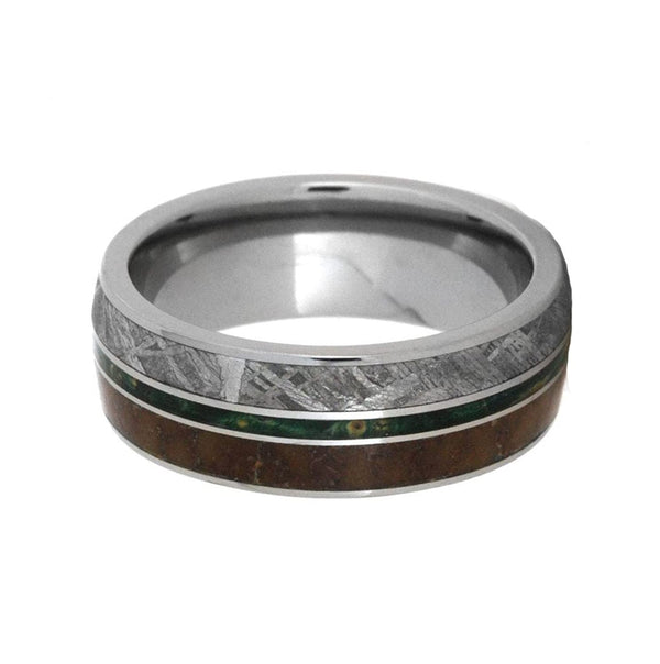 Meteorite, Dinosaur Bone, Green Box Elder Burl 7mm Comfort-Fit Titanium Band, Size 7.25